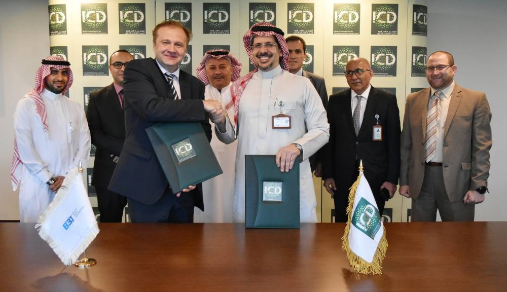 Ayman Sejiny, CEO of ICD, and Amer Bukvic, CEO of BBI, sign the agreement on Wednesday at the ICD's headquarters in Jeddah. — Courtesy photo