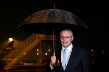 Prime Minister Scott Morrison makes an address following the passing of former Australian Prime Minister Bob Hawke, at Brisbane Airport in Brisbane, Australia, on Thursday. — Reuters