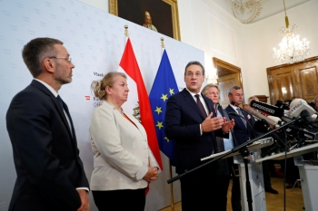 Austrian Vice Chancellor Heinz-Christian Strache addresses the media in Vienna, Saturday. — Reuters