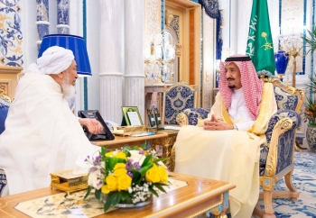 Custodian of the Two Holy Mosques King Salman receives President of the UAE Ifta Council Sheikh Abdullah Bin Bayyah at Al-Salam Palace in Jeddah on Sunday.