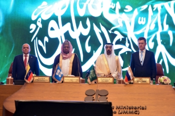 Saudi Arabian Energy Minister Khalid Al-Falih, Mohammed Barkindo, Secretary General of OPEC, Russian Energy Minister Alexander Novak and Venezuela's Oil Minister Manuel Quevedo stand for the Saudi Arabia anthem during the OPEC 14th Meeting of the Joint Ministerial Monitoring Committee in Jeddah on Sunday. — Reuters