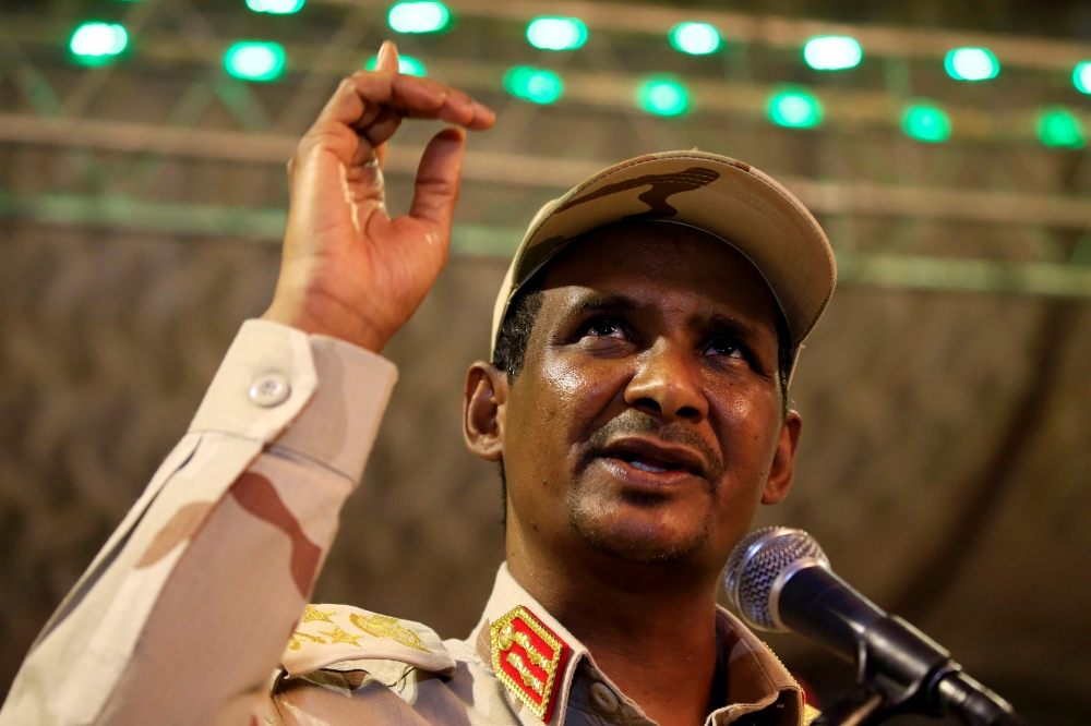 General Mohamed Hamdan Dagalo, head of the Rapid Support Forces (RSF) and deputy head of the Transitional Military Council (TMC) delivers an address after the Ramadan prayers and Iftar organized by Sultan of Darfur Ahmed Hussain in Khartoum, Sudan, on Saturday. — Reuters