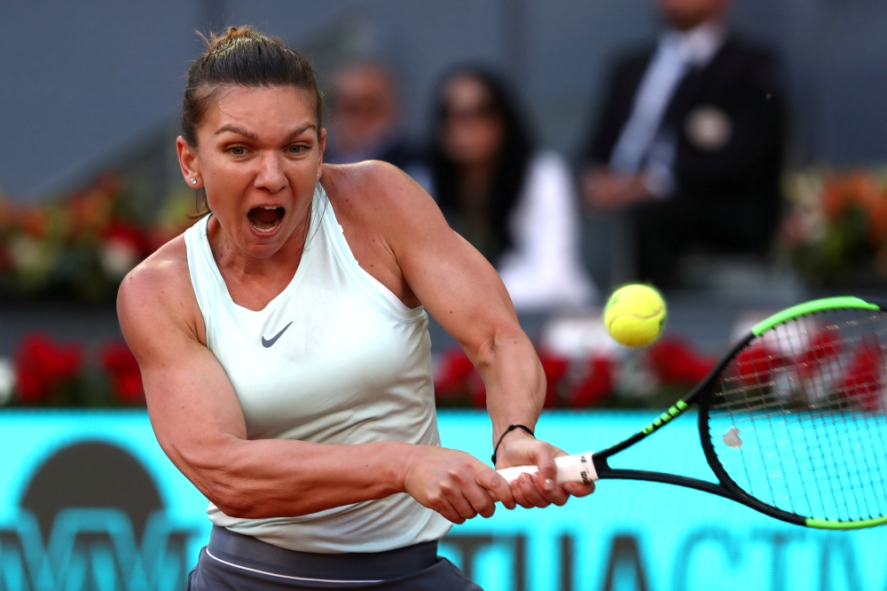 Romania's Simona Halep in action during the final against Netherlands' Kiki Bertens at the Madrid Open in this May 11, 2019 file photo.
