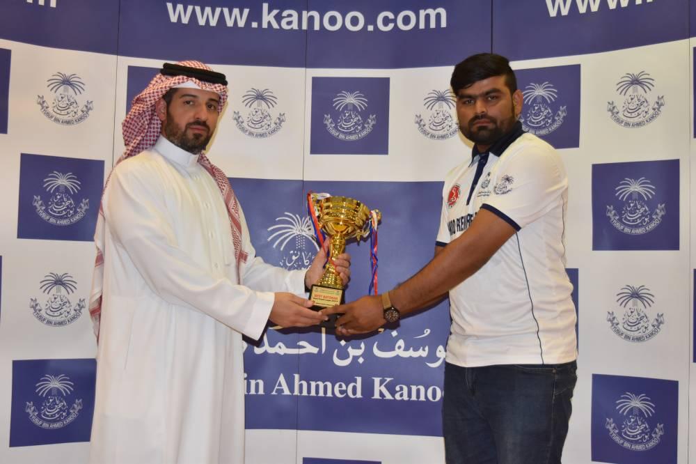 Bilal Ahmed of AlBurj receiving Best Batsman Award.