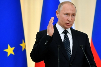 Russian President Vladimir Putin speaks during a joint news conference with his Austrian counterpart, not seen, following their talks in Sochi, Russia, in this May 15, 2019 file photo. — Reuters