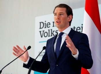Austrian Chancellor Kurz speaks during a news conference in Vienna, Austria, on Monday. — Reuters