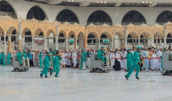 Some 30 special electrical cars, 67 other machines and 400 liters of water are used for cleaning and sterilizing the Mataf. — Courtesy photo