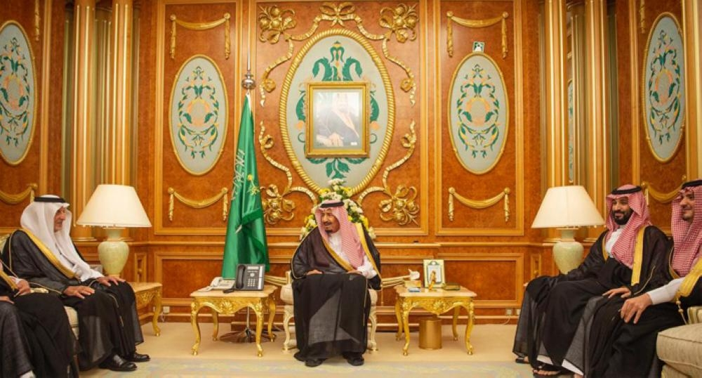 Custodian of the Two Holy Mosques King Salman receives emirs of various regions at Al-Salam Palace in Jeddah on Tuesday –SPA