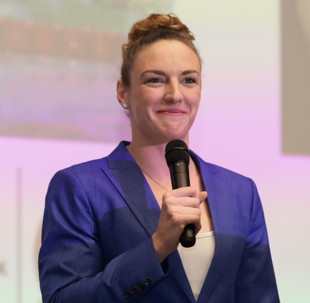 Katinka Hosszu is seen at the 'Empowering Women in Sport' conference in Budapest, Hungary.  — Reuters