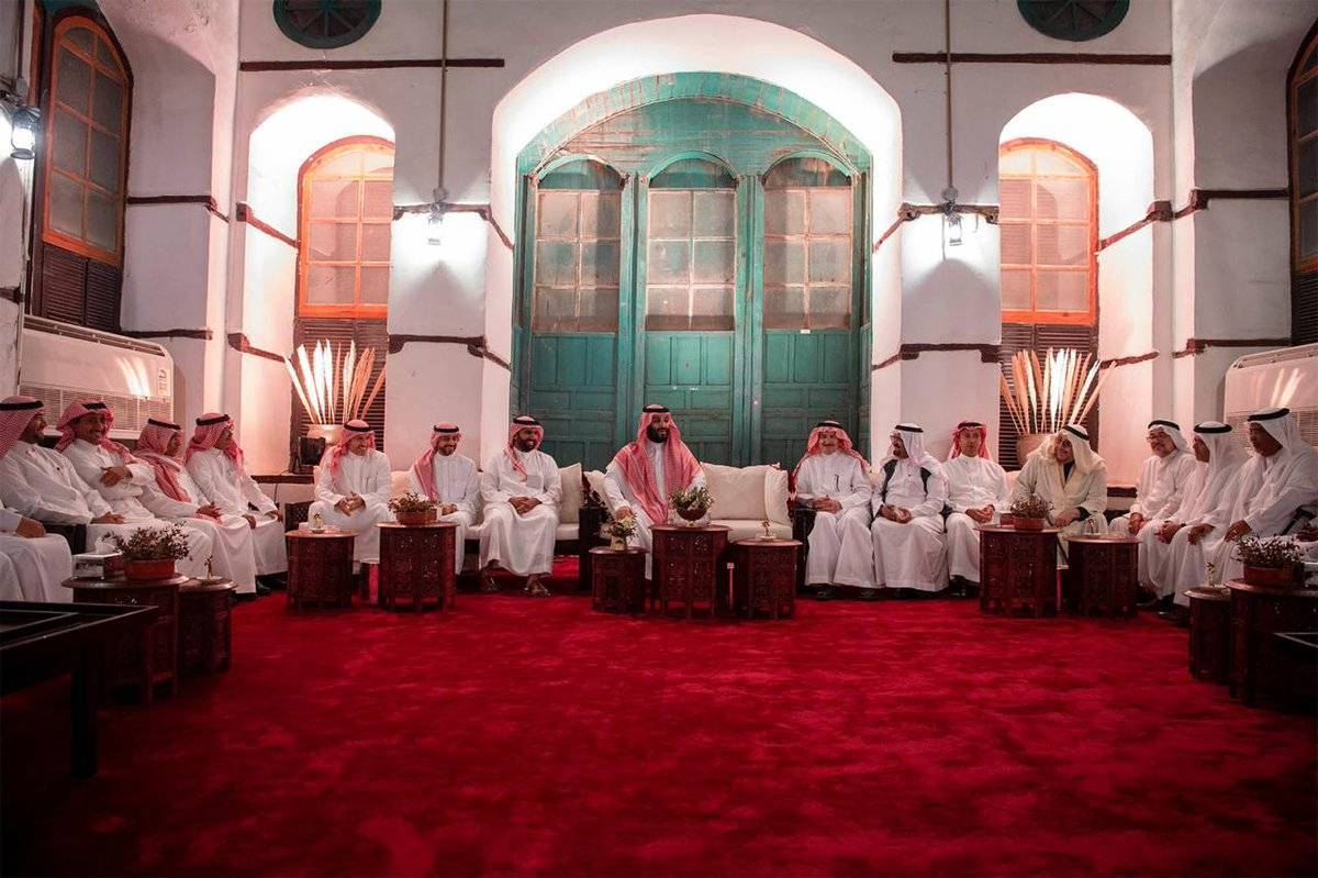 Crown Prince Muhammad Bin Salman meets with a group of Saudi intellectuals in Jeddah on Friday. — SPA