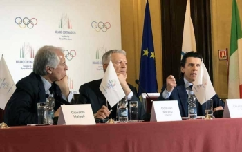 File photo shows, Milan-Cortina 2026 Bid Chief Giovanni Malago (left) watches IOC Evaluation Commission Chief Octavian Morariu and IOC Executive Director Christophe Dubi during a press conference at Palazzo Marino in Milan. — Courtesy photo