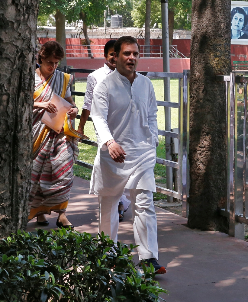 Rahul Gandhi, president of Congress party, arrives with his sister and a leader of the party Priyanka Gandhi Vadra to attend Congress Working Committee (CWC) meeting in New Delhi, Saturday. — Reuters