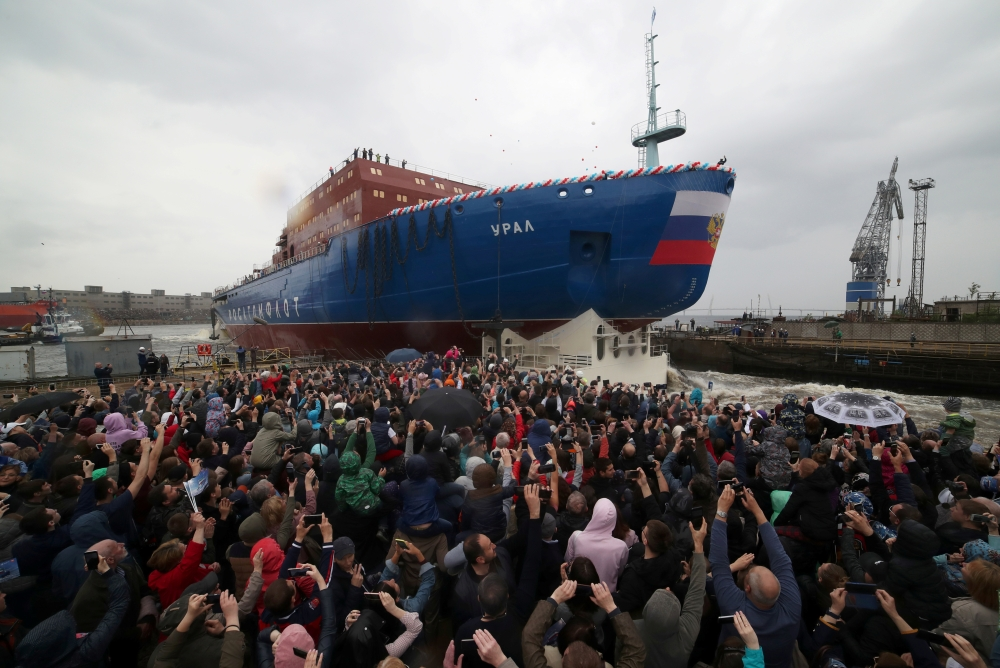 People attend the float out ceremony of the nuclear-powered icebreaker