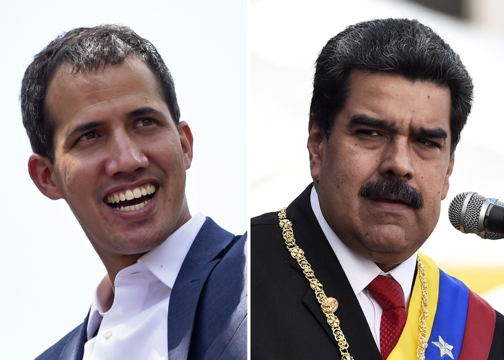 Venezuelan opposition leader Juan Guaido (L) smiles during a gathering with supporters in Caracas on February 2, 2019 and Venezuelan President Nicolas Maduro delivers a speech during the ceremony of recognition by the Bolivarian National Armed Forces (FANB) in Caracas on January 10, 2019. - AFP