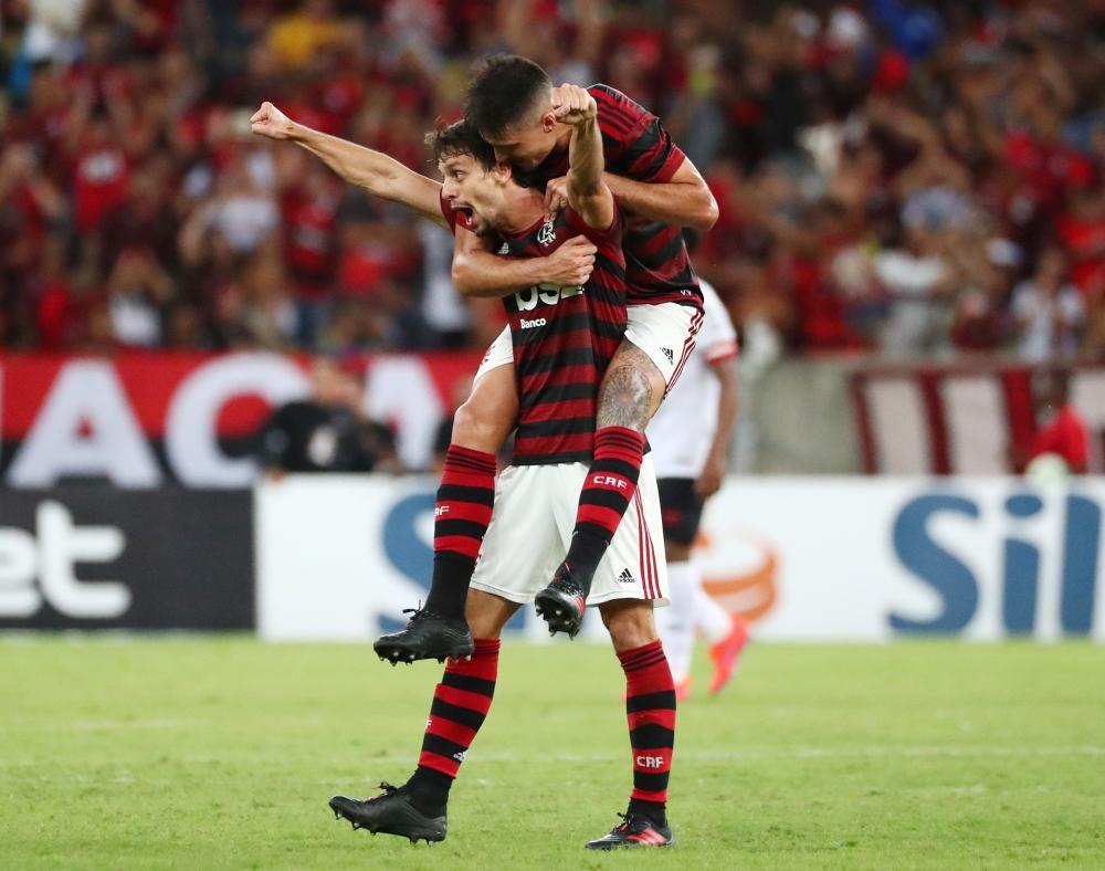 Flamengo's Rodrigo Caio celebrates scoring their third goal against Athletico Paranaense at Maracana Stadium, Rio de Janeiro, Brazil, on Sunday. — Reuters