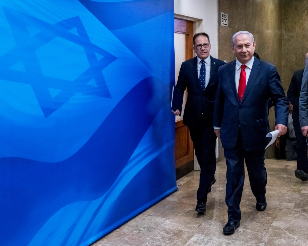 Israeli Prime Minister Benjamin Netanyahu arrives to chair the weekly Cabinet meeting in Jerusalem on Sunday. — Reuters