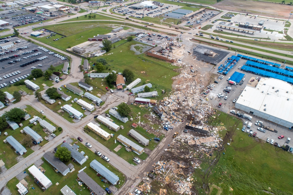 A path of destruction through the American Budget Value Inn and Skyview Mobile Park Estates is seen in an aerial photo after a tornado touched down overnight in El Reno, Oklahoma, on Sunday. — Reuters