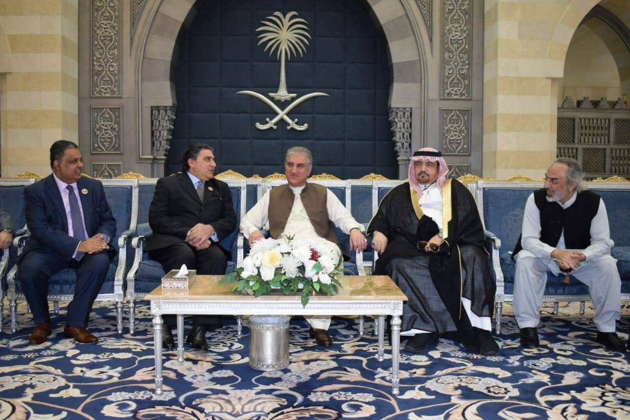 Pakistani Foreign Minister Shah Mahmood Qureshi, with Nasir Jamal, Chief of Protocol of Saudi Foreign Ministry; Raja Ali Aijaz, Pakistan's Ambassador to Saudi Arabia; and Consul General Shehryar Akbar Khan. — Courtesy photo