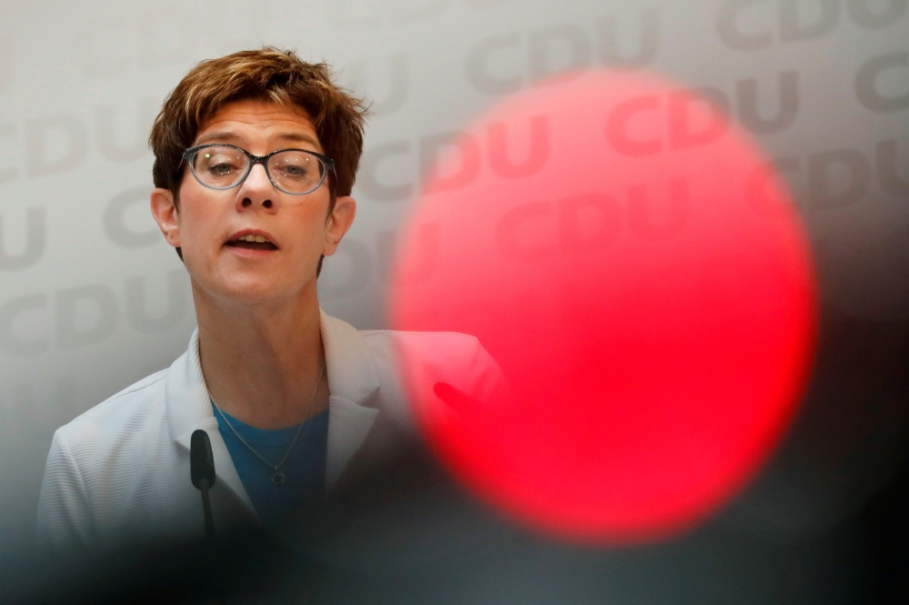 Annegret Kramp-Karrenbauer, chairwoman of Germany's Christian Democratic Union party (CDU) attends a news conference in Berlin, Germany, on Monday. — Reuters