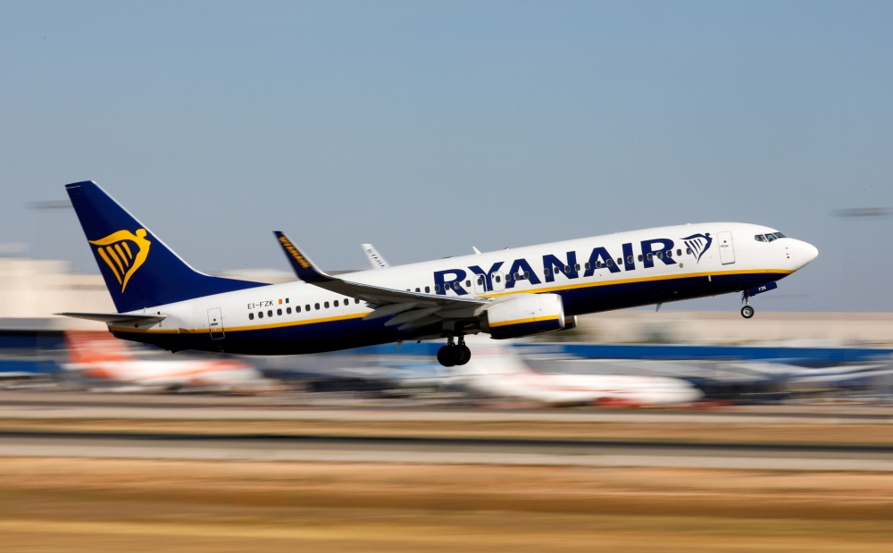 File photo shows a Ryanair Boeing 737-800 plane taking off from Palma de Mallorca airport in Palma de Mallorca, Spain, on July 28, 2018. — Reuters