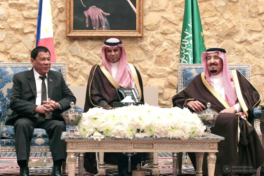 Custodian of the Two Holy Mosques King Salman receives Philippine President RodrigoDuterte during the latter's state visit in the Kingdom in 2017. — Courtesy photo