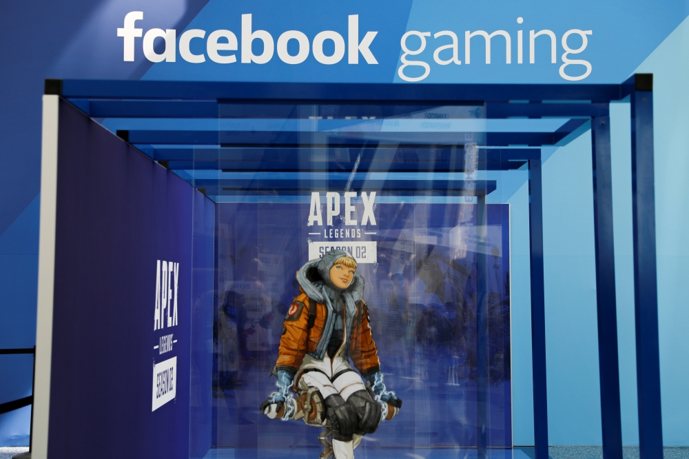 A display for Facebook Gaming is shown during opening day of E3, the annual video games expo revealing the latest in gaming software and hardware in Los Angeles, California. — Reuters