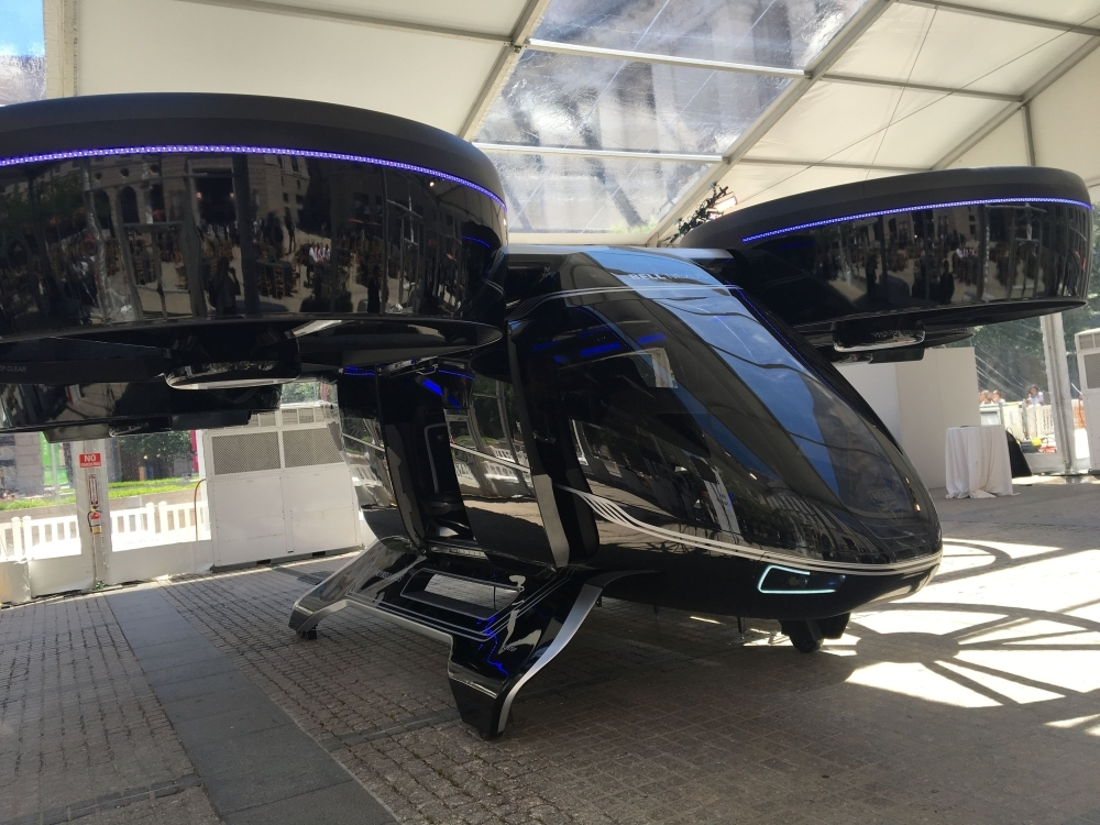 """The Bell Nexus concept """"flying car"""" is shown at the Uber Elevate summit in Washington, DC on Tuesday, one of several that will make up a fleet of electric aircraft Uber expects to deploy by 2023. Uber selected Mebourne, Australia, as the first non-US city for its aerial ridesharing service expected to launch in 2023 as it unveiled new partners for the ambitious initiative.  — AFP"""