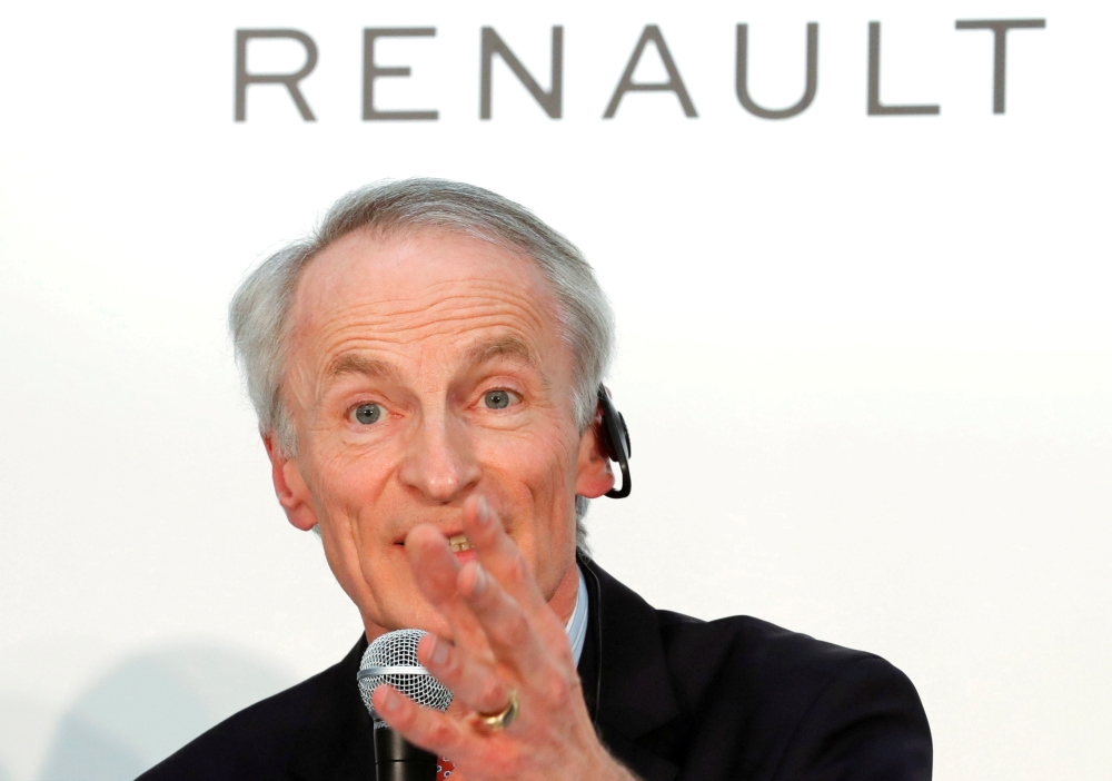 Renault Chairman Jean-Dominique Senard attends a joint news conference in Yokohama, Japan, in this March 12, 2019, photo. — Reuters