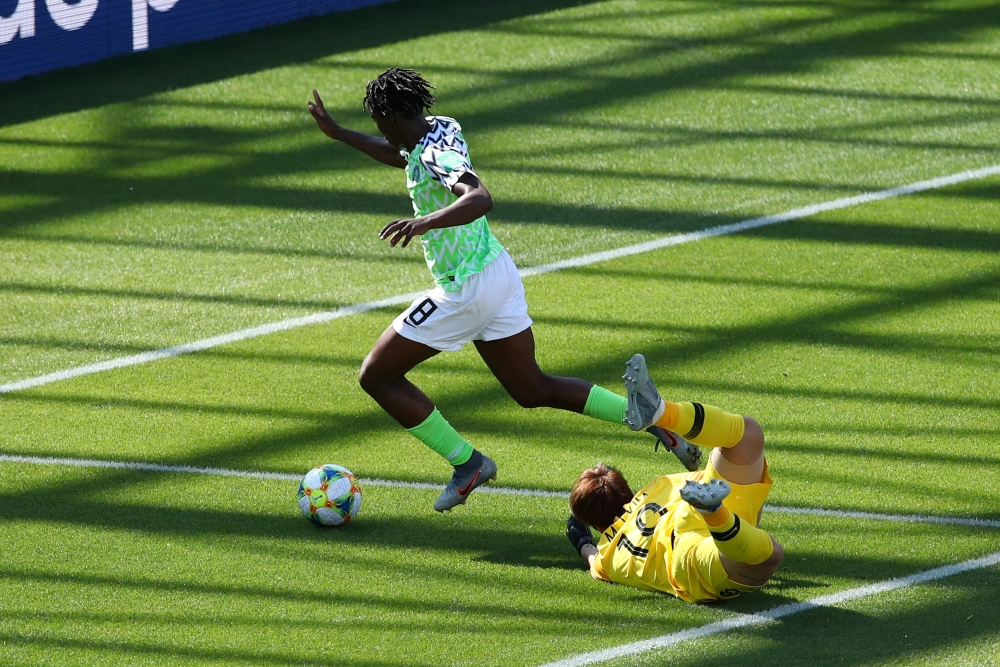 Nigeria's Asisat Oshoala scores their second goal against South Korea during the France 2019 Women's World Cup Group A football match at the Alpes Stadium in Grenoble, central-eastern France, on Wednesday. — Reuters