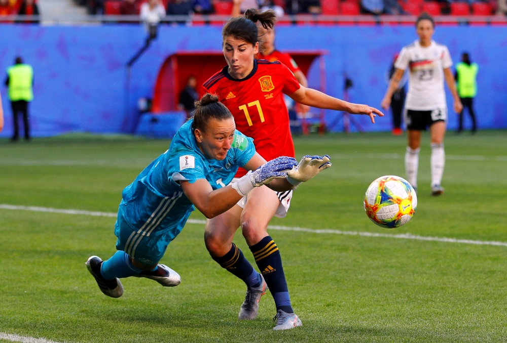 Spain's Lucia Garcia in action with Germany's Almuth Schult during the France 2019 Women's World Cup Group B football match on Wednesday, at the Hainaut Stadium in Valenciennes, northern France. — Reuters