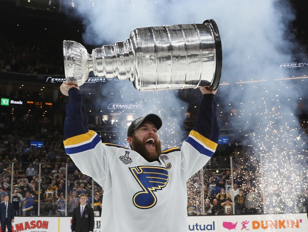 Alex Pietrangelo No. 27 of the St. Louis Blues celebrates with the Stanley Cup after defeating the Boston Bruins in Game Seven to win the 2019 NHL Stanley Cup Final at TD Garden on Wednesday in Boston, Massachusetts. — AFP