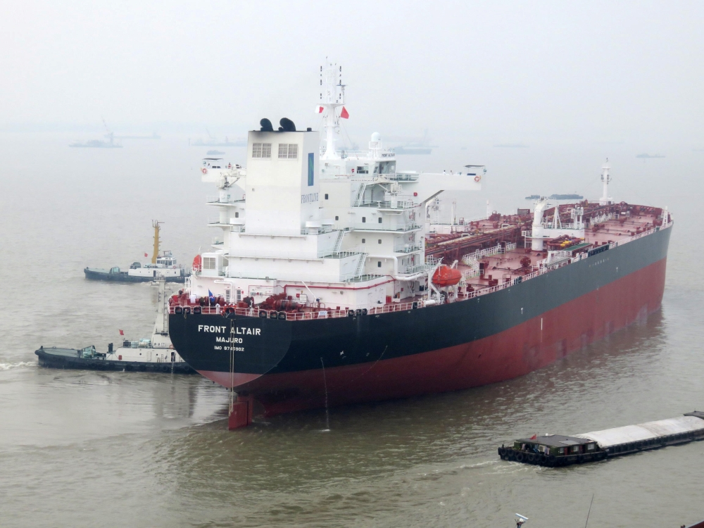 Undated handout archive photo by the Norwegian shipowner Frontline of the crude oil tanker Front Altair, released Thursday. Two oil tankers were hit in suspected attacks in the Gulf of Oman, shipping firms and industry sources said on Thursday. — AFP