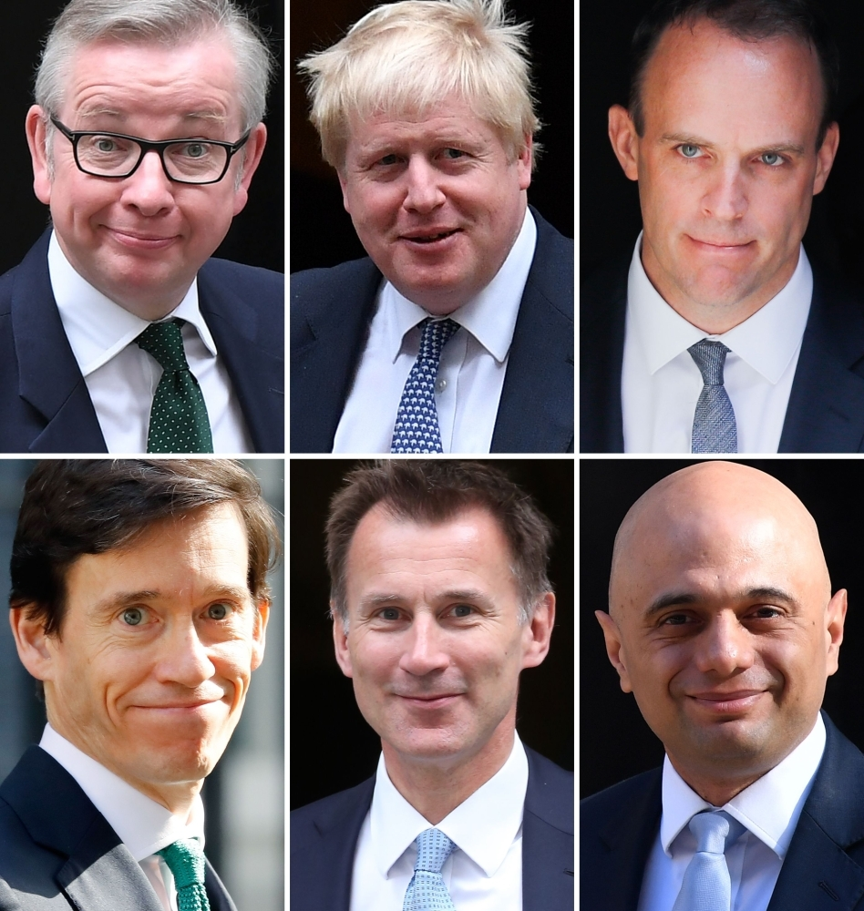 A combination of pictures created in London shows the six contenders left in the race for leader of the Conservative party (top L-R) Britain's Environment, Food and Rural Affairs Secretary Michael Gove, former foreign secretary Boris Johnson, Former Brexit Secretary Dominic Raab (bottom L-R) Britain's International Development Secretary Rory Stewart, Britain's Foreign Secretary Jeremy Hunt and Britain's Home Secretary Sajid Javid. — AFP