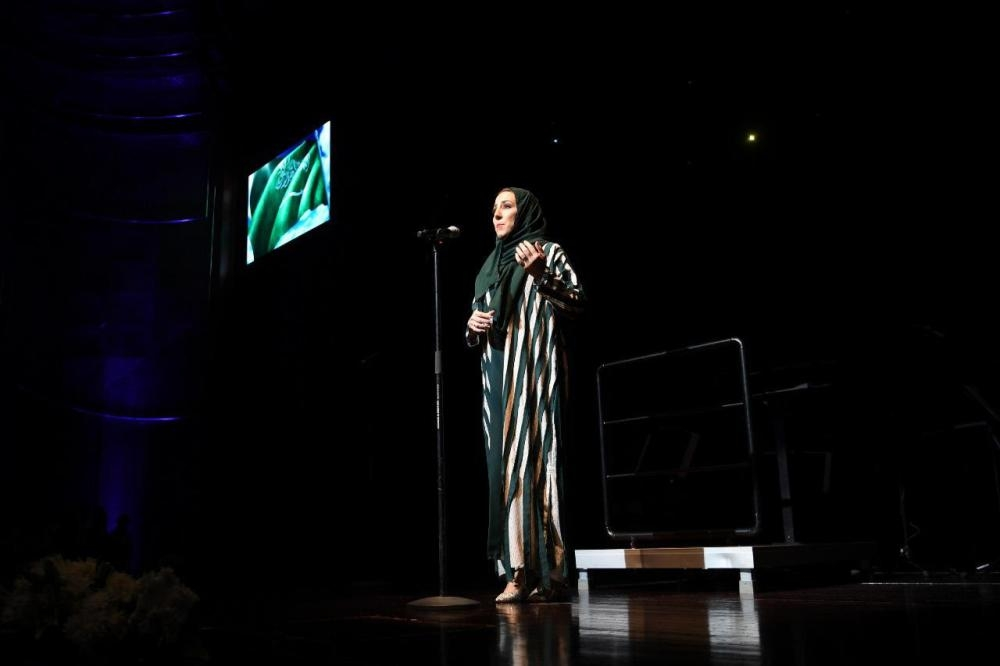 Saudi opera singer Sawsan Al-Bahiti opening the event with the Kingdom's national anthem, which was sung in operatic style.