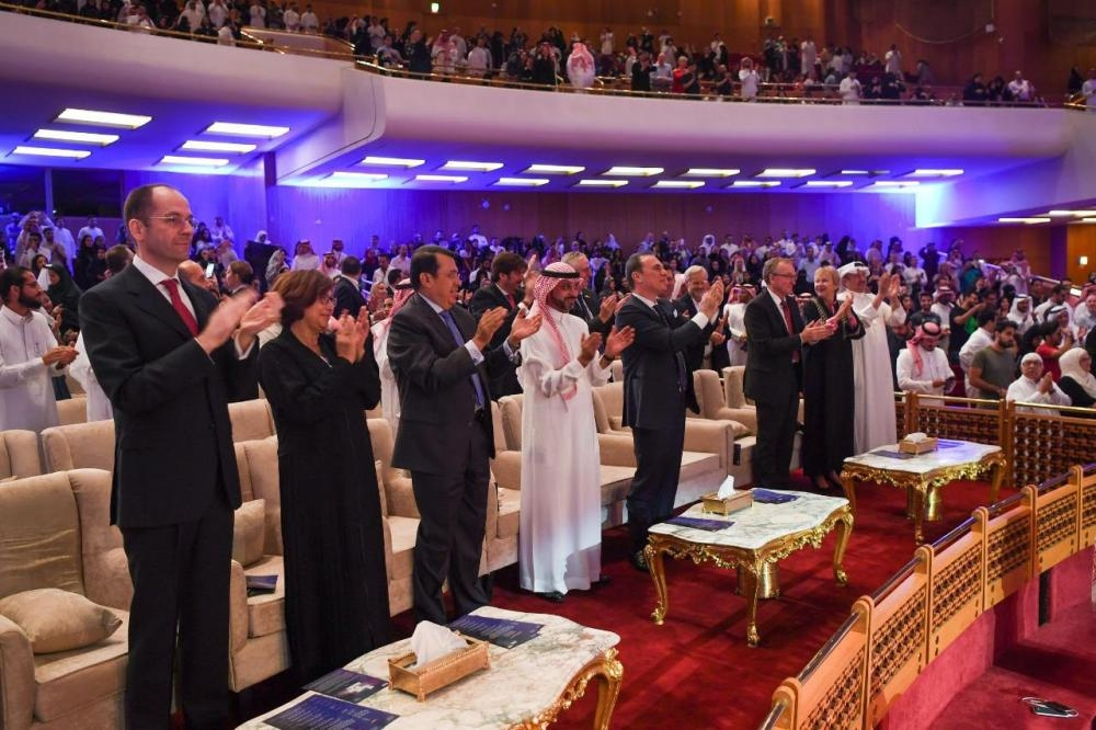The audience applauding the Italian opera 'La Scala' by the Teatro Alla Scala Academy performed at the King Fahd Cultural Center in Riyadh.