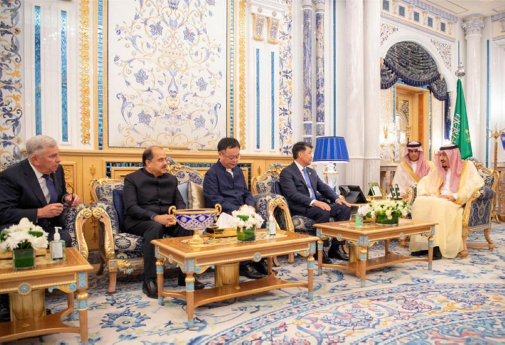 Custodian of the Two Holy Mosques King Salman receives new ambassadors accredited to the Kingdom at Al-Salam Palace in Jeddah on Sunday. — SPA