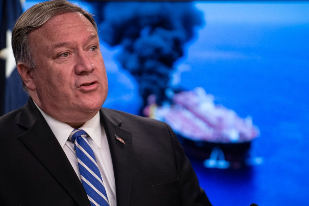 In this file photo taken on June 13, 2019, US Secretary of State Mike Pompeo delivers remarks to the media at the State Department in Washington, DC. US Secretary of State Mike Pompeo blamed Iran on Sunday for last week's attacks on oil tankers and vowed that the United States will guarantee free passage through the vital Strait of Hormuz. — AFP