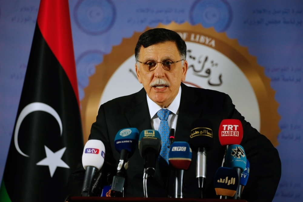 Libya's Government of National Accord (GNA) Prime Minister Fayez Al-Sarraj speaks during a press conference in the capital Tripoli on Sunday. — AFP
