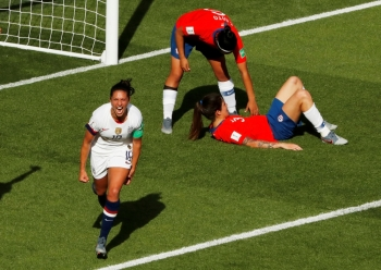 Carli Lloyd of the US celebrates scoring their third goal  against Chile in group stage play during the FIFA Women's World Cup France 2019 at Parc des Princes on Sunday. — Reuters