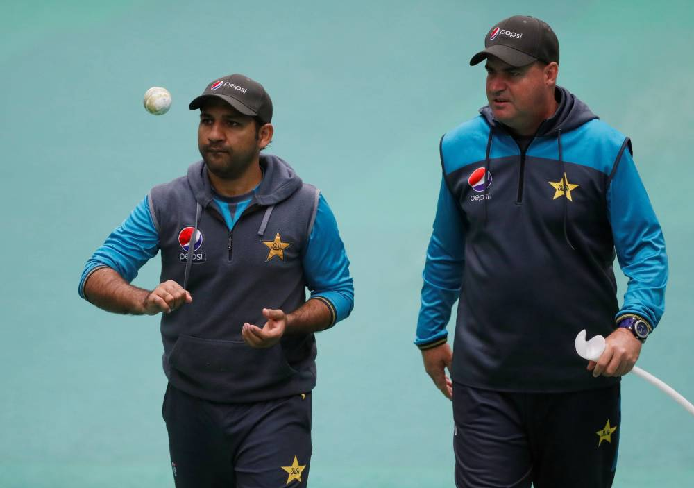 Pakistan coach Mickey Arthur and Sarfaraz Ahmed during ICC Cricket World Cup nets at the Emirates Old Trafford, Manchester, Britain on Saturday. —  Reuters