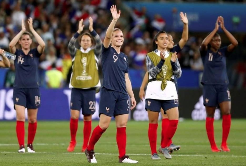 France's Eugenie Le Sommer and teammates celebrate after the Women's World Cup Group A match against Norway Allianz Riviera, Nice, France, June 12, 2019. —Reuters