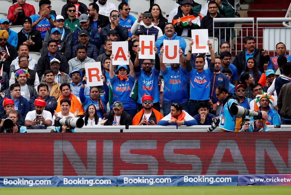 India fans with a banner for KL Rahul during the ICC Cricket World Cup match against Pakistan at the Emirates Old Trafford, Manchester, Britain, on Sunday. — Reuters