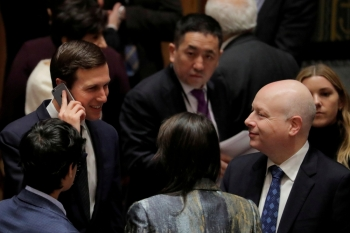 White House senior adviser Jared Kushner, left, speaks with United States Ambassador to the United Nations Nikki Haley and lawyer Jason Greenblatt, right, before a meeting of the United Nations Security Council at UN headquarters in New York in this Feb. 20, 2018 file photo. — Reuters