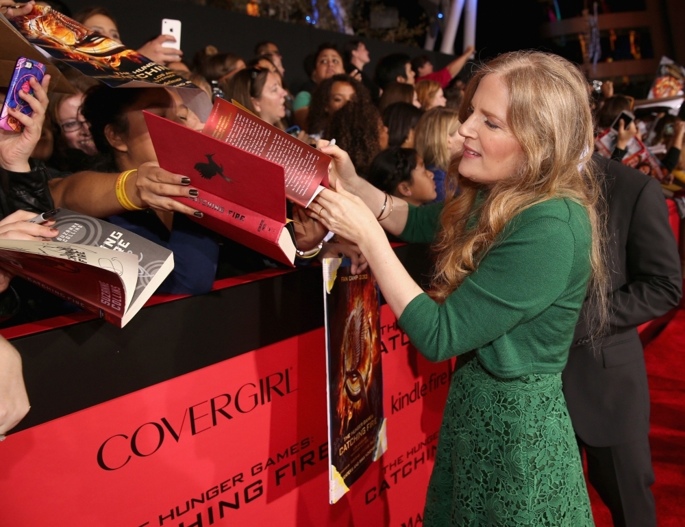 In this file photo taken on November 18, 2013 Author Suzanne Collins attends premiere of Lionsgate's