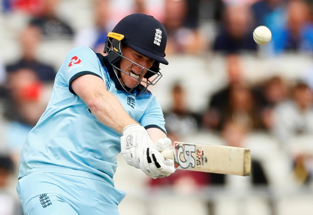 England's Eoin Morgan in action during the ICC Cricket World Cup match against Afghanistan at the Old Trafford, Manchester, Britain, on Tuesday. — Reuters