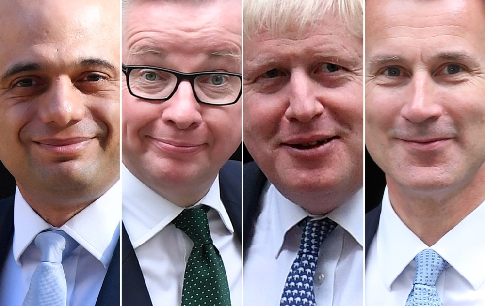 A combination of pictures created in London on Wednesday shows the remaining four contenders in the contest for leader of the Conservative party, left to right, Britain's Home Secretary Sajid Javid, Britain's Environment, Food and Rural Affairs Secretary Michael Gove, former Foreign Secretary Boris Johnson, and Britain's Foreign Secretary Jeremy Hunt. — AFP