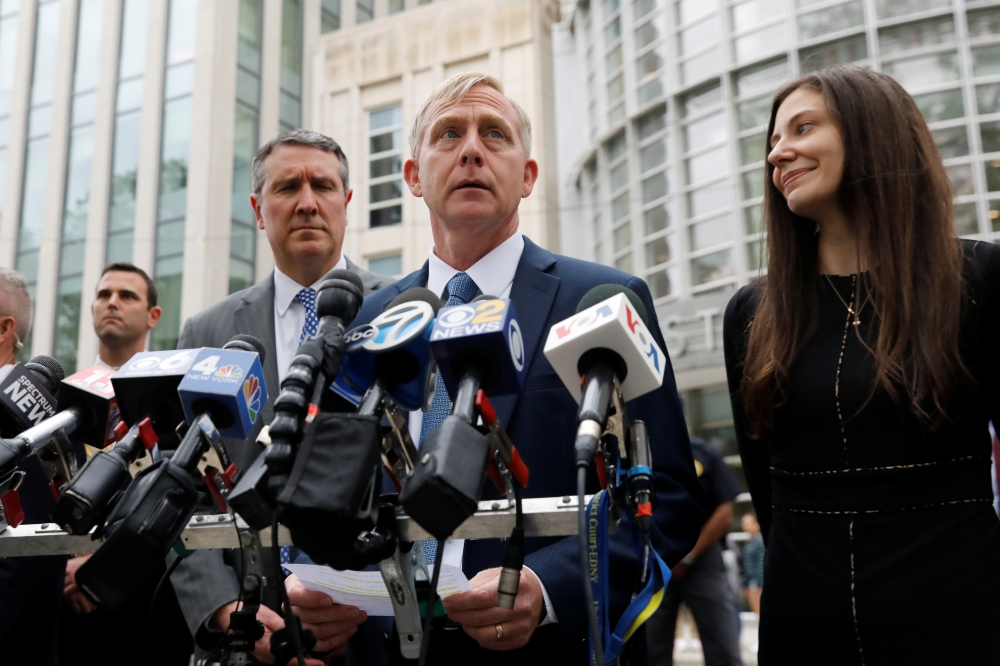Richard P. Donoghue, United States Attorney for the Eastern District of New York, speaks to the media after the guilty verdicts in the sex trafficking and racketeering case against Nxivm cult founder Keith Raniere outside the Brooklyn Federal Courthouse in New York, on Wednesday. — Reuters