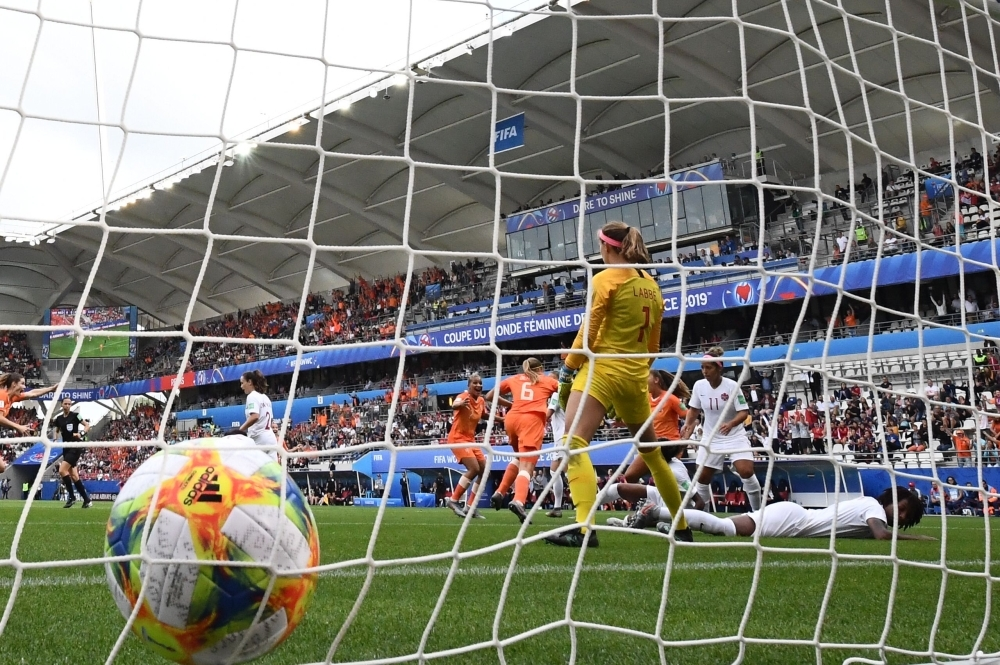 Canada's goalkeeper Stephanie Labbe fails to stop Netherland's first goal during the France 2019 Women's World Cup Group E football match between the Netherlands and Canada, on Thursday, at the Auguste-Delaune Stadium in Reims, eastern France. — AFP