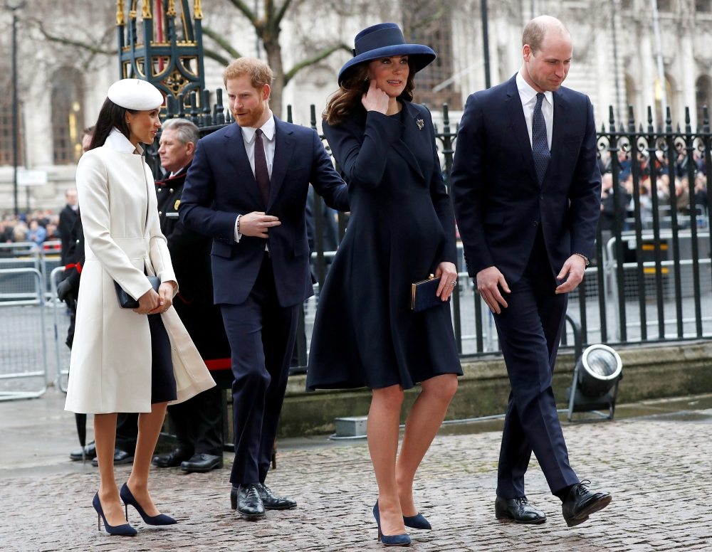 Britain's Prince Harry, his fiancee Meghan Markle, Prince William and Kate, the Duchess of Cambridge, arrive at the Commonwealth Service at Westminster Abbey in London, Britain, in this March 12, 2018 file photo. — Reuters