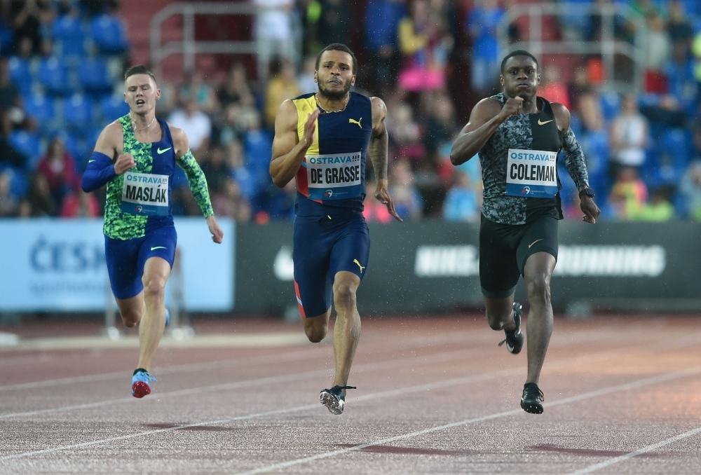 Andre De Grasse (C) of Canada wins ahead of Christian Coleman  (R) of the USA and Czech Republic's Pavel Maslak (L) compete during the 200m Men sprint of IAAF Golden Spike 2019 Athletics meeting in Ostrava on Thursday. — AFP